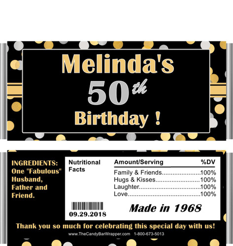 50th Birthday Candy Wrappers