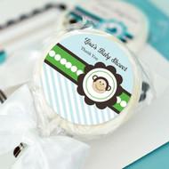 Blue Monkey Party Personalized Lollipop Favors
