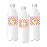 Pink Circus Party Personalized Water Bottle Labels
