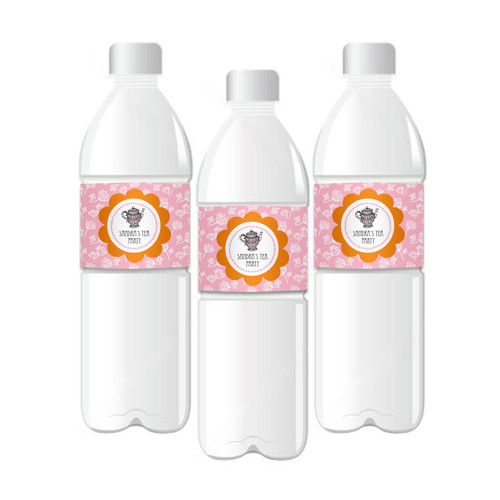 Tea Party Personalized Water Bottle Labels