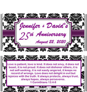 25th Anniversary Black Damask Candy Bar Wrappers