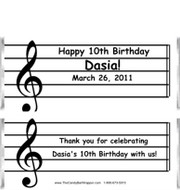 Musical Notes Candy Wrappers Sample