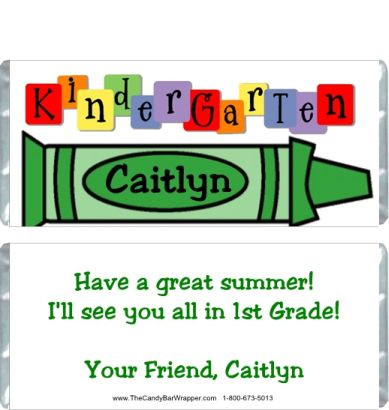 Kindergarten Graduation Candy Wrappers Sample