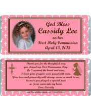 First Holy Communion Pink Candy Wrappers Sample