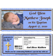 Baptism Boy Blue Candy Wrapper with Pic and Nutritional Label