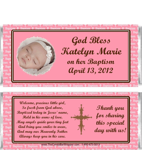 Baptism Pink Girl Candy Wrappers Sample