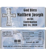 Religious Boy Baptism Candy Wrappers with Nutritional Label