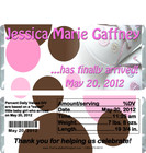 Baby Shoes Girl Birth Announcement Candy Wrappers