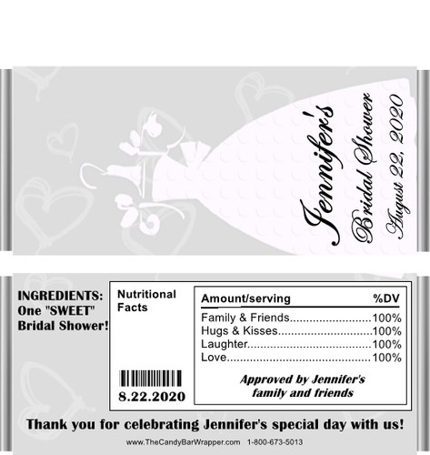 Bridal Dress Candy Bar Wrappers Sample with Nutritional Label