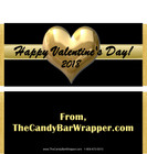 Gold Heart Valentine Candy Bar Wrappers