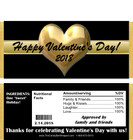 Gold Heart Valentine Candy Bar Wrappers with Nutrition Label