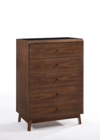 Modrest Gibson Modern Walnut & Black Glass Chest