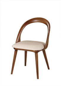 Modrest Mason Mid-Century Modern Beige & Walnut Dining Chair