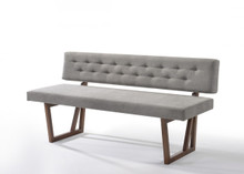 Modrest Jordan Modern Grey & Walnut Dining Bench