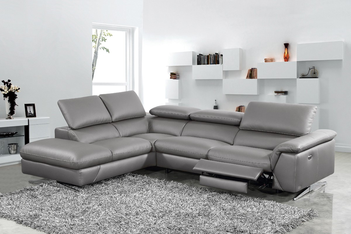 Divani Casa Maine Modern Dark Grey Eco-Leather Sectional Sofa ...