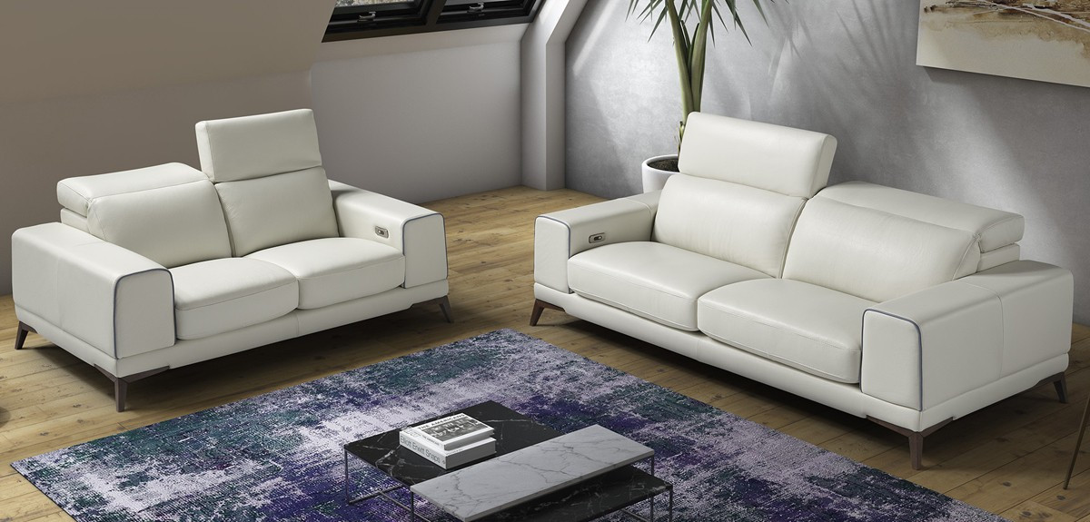 Enjoyable Estro Salotti Bolton Italian Modern White Blue Leather Sofa Set Beutiful Home Inspiration Truamahrainfo