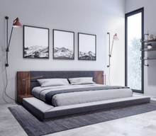 Nova Domus Jagger Modern Dark Grey & Walnut Bed