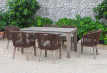 Fiji Outdoor Brown Dining Table Set
