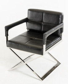 Modrest Kubrick Black Bonded Leather Accent Chair