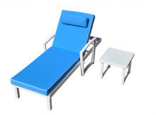 Tampa Outdoor Blue & White Sun Bed & End Table Set