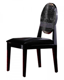 Joss - Modern Black Crocodile Dining Chair