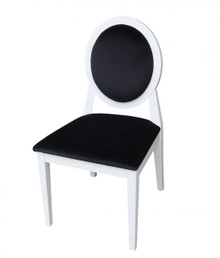 A&X Alice - Transitional White Laquer Black Fabric Side Chair