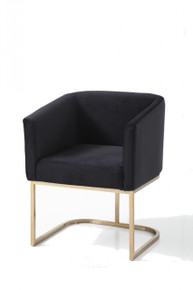 Modrest Yukon Modern Black Fabric & Gold Dining Chair