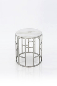 Modrest Silvan Modern Marble & Stainless Steel End Table