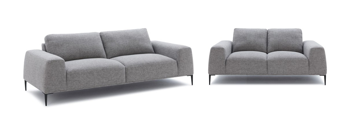 Divani Casa Arthur Modern Grey Fabric Sofa & Loveseat Set - Stylish ...