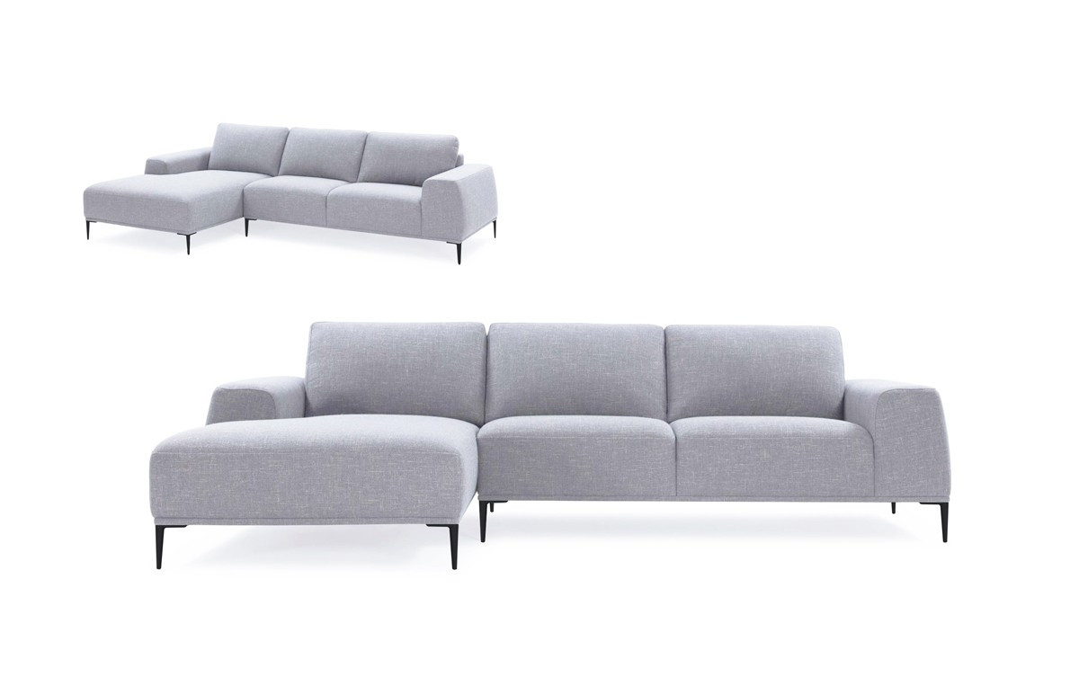 Modrest Arthur Modern Grey Fabric Sectional Sofa w/ Left Facing ...