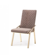 Modrest Acton Modern Brown Velvet & Gold Dining Chair