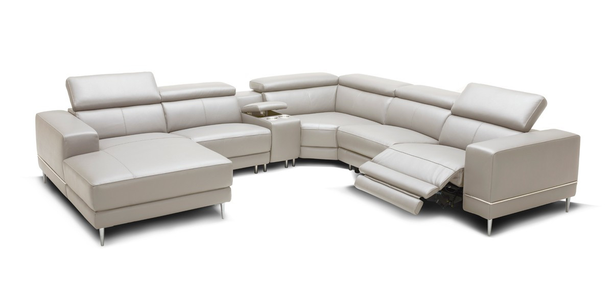 Wade Modern Light Grey Leather Sectional Sofa 2 Electric Recliners ...