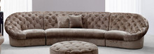 Cosmopolitan Mini Transitional Crystal Tufted Fabric Sectional Sofa