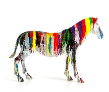 Modrest Large Rainbow Zebra Sculpture