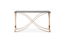 Modrest Reklaw Modern Smoked Glass & Rosegold Console Table