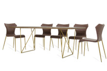 Modrest Marcia Modern Tobacco & Antique Brass Dining Table