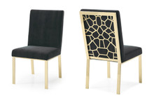 Modrest Reba Modern Black Velvet & Gold Dining Chair