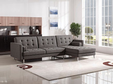 1471 Grey Modern Fabric Sectional w Bed