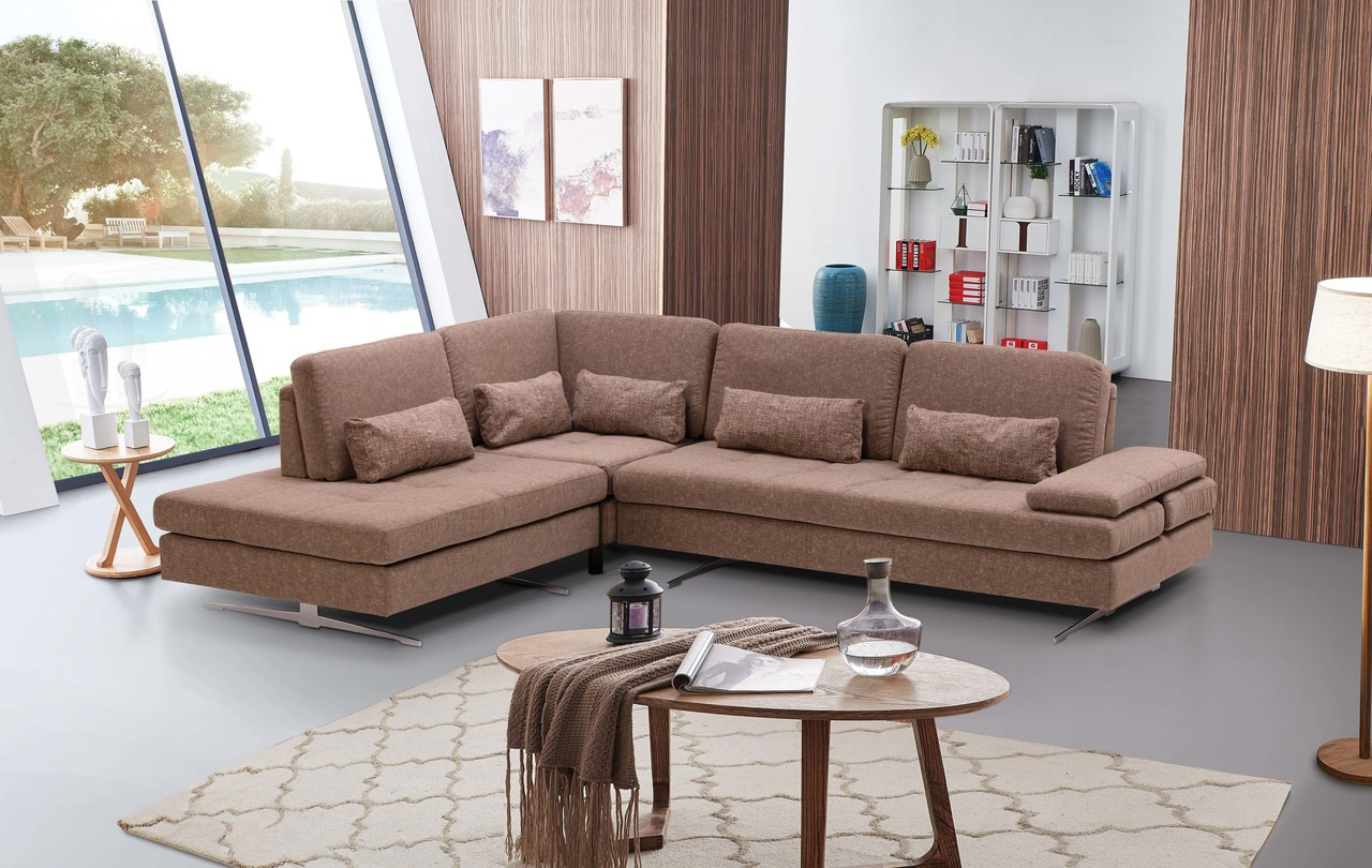 Colombo modern beige fabric living room sectional sofa price 2420 00 image 1