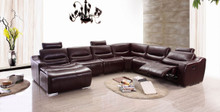 FLR Modern Living 2144 Brown Leather Sectional w Recliner