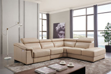 FLR Modern Living Thick Leather 760 Sectional w Electric Recliner