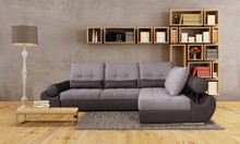 European Talia Grey Fabric & Leather Sectional w Bed