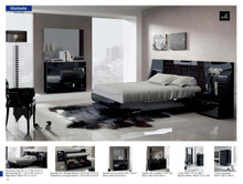 Fencia Spain Marbella Modern Black High Gloss Bedroom Set