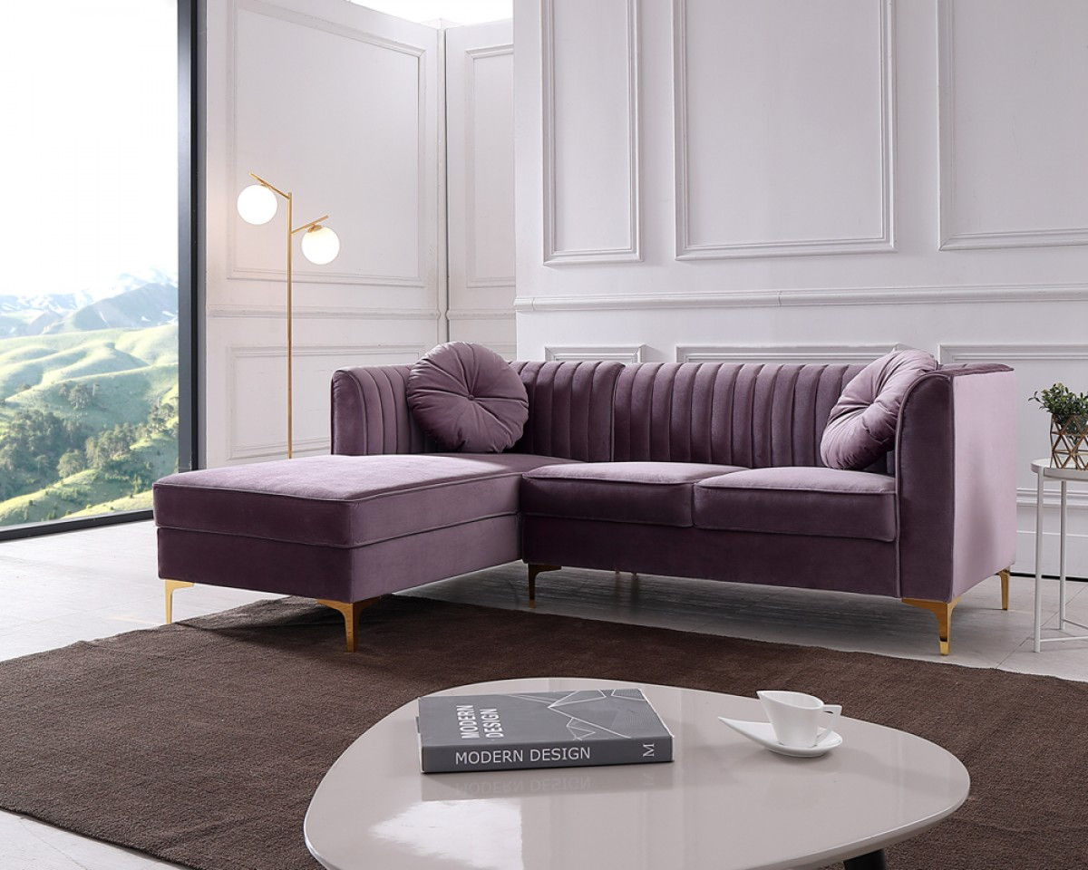 Modrest Rachel Modern Purple Velvet Sectional Sofa Stylish Design