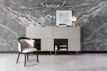 Modrest Deegan Modern Grey & Ebony Tall Buffet