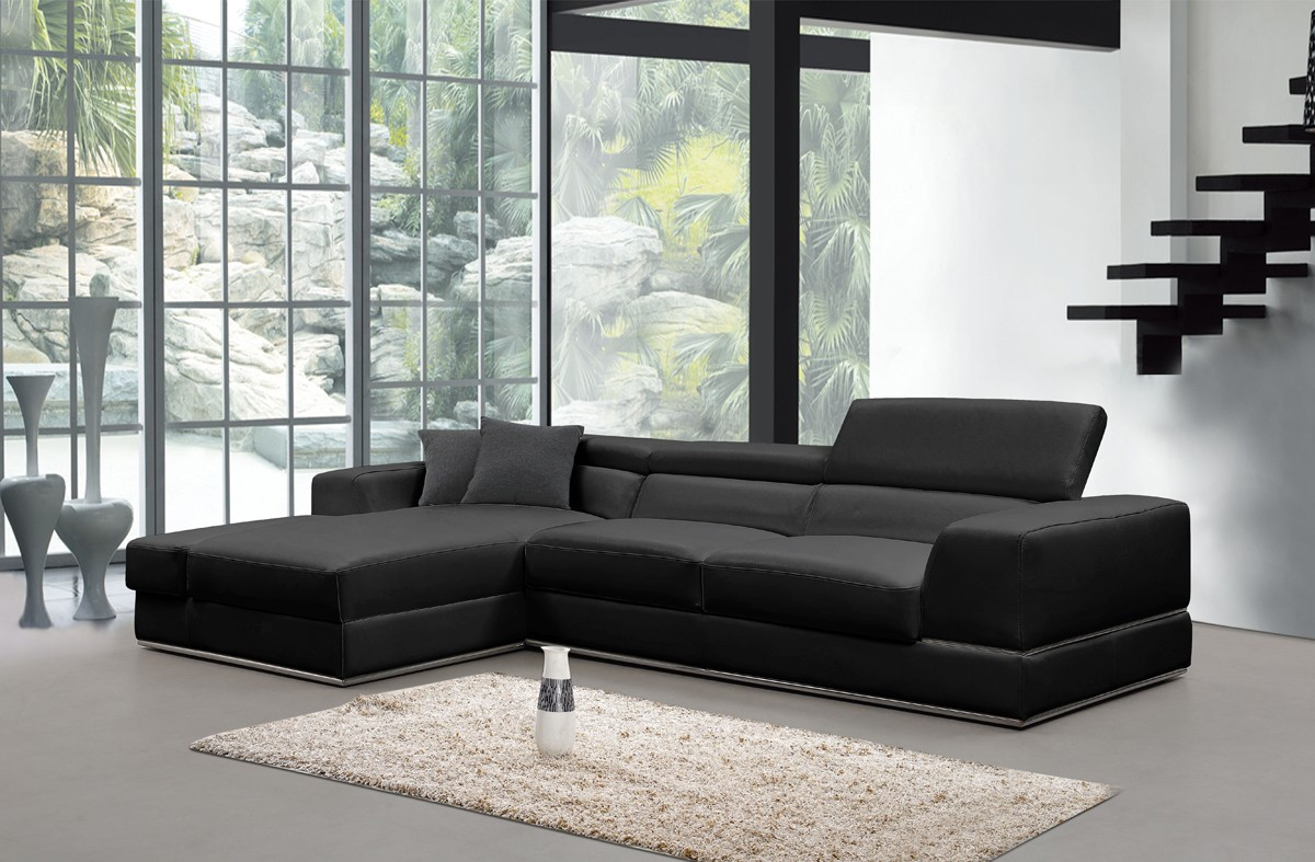 Divani Casa Pella Mini Modern Black Leather Sectional Sofa Stylish
