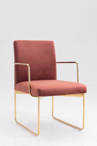 Modrest Thelan Modern Salmon Fabric & Gold Dining Chair