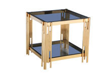 Modrest Alameda Modern Smoked Glass & Gold End Table