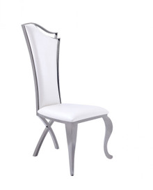 Modrest Bonnie Transitional White Leatherette & Black Stainless Steel Dining Chair