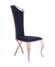 Modrest Bonnie Transitional Black Velvet & Rosegold Dining Chair